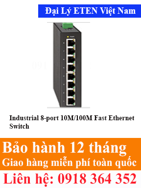 Model : IFE-2800, Industrial 8-port 10M/100M Fast Ethernet Switch Eten Việt Nam Eten VietNam